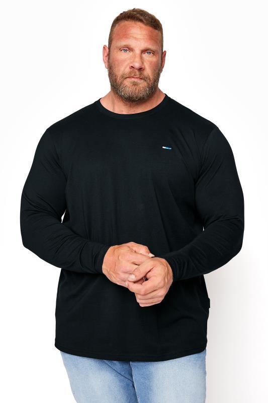 Men's T-Shirts BadRhino Black Plain Long Sleeve T-Shirt