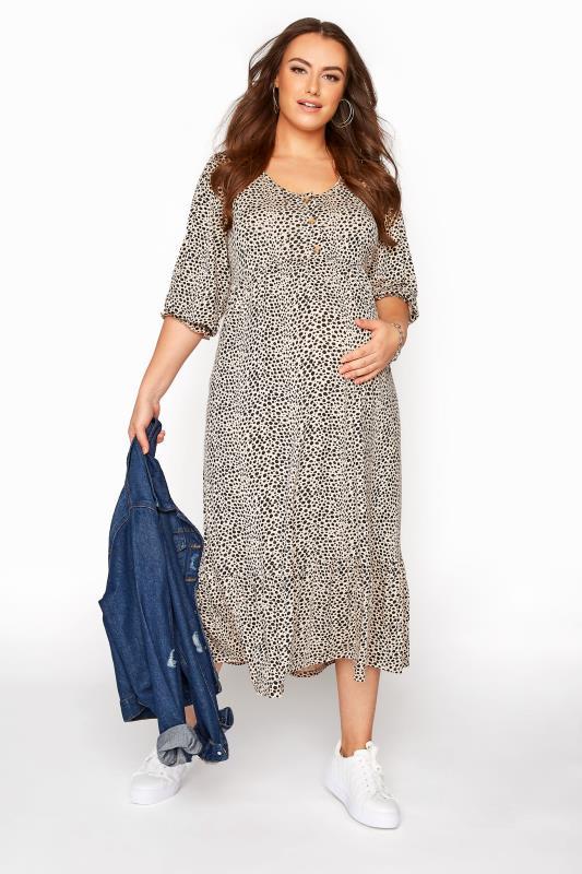BUMP IT UP MATERNITY Beige Dalmatian Print Midaxi Dress_B.jpg
