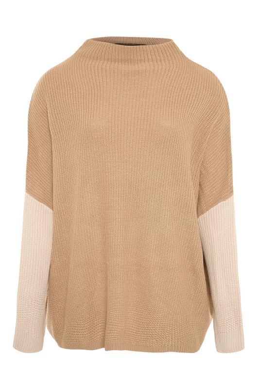 Beige Colour Block Oversized Knitted Jumper_F.jpg