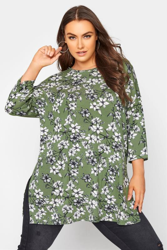 Green Floral Split Hem Tunic_A.jpg