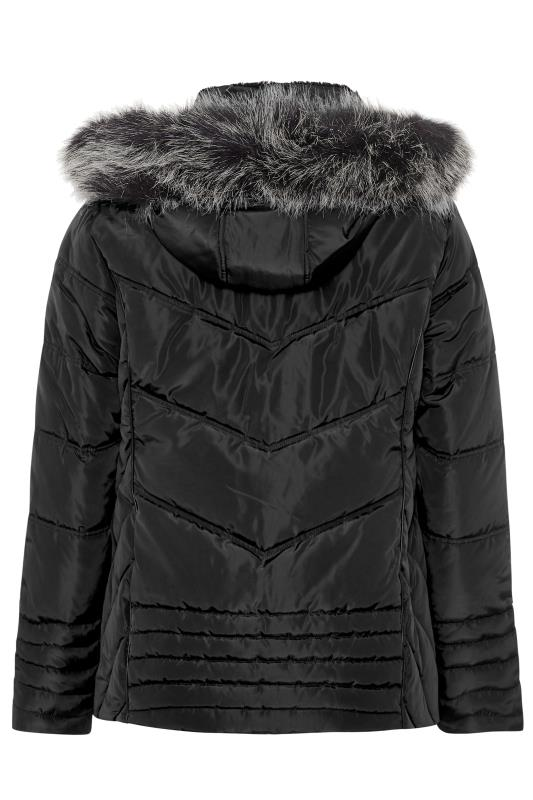 Black PU Trim Panelled Puffer Jacket
