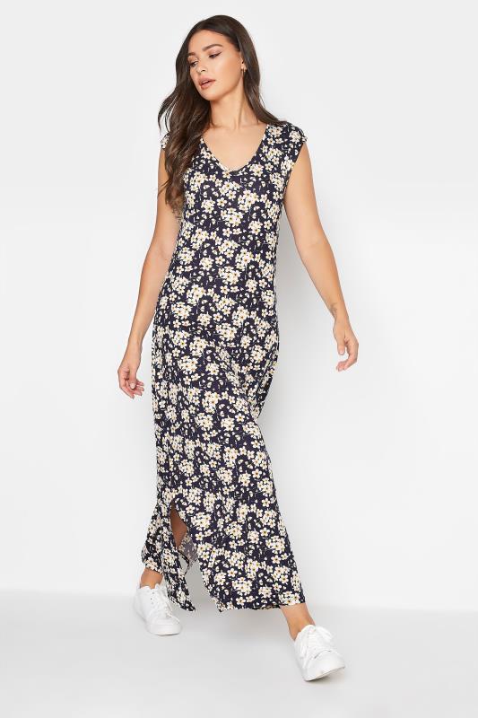 LTS Black Floral Print V-Neck Midi Dress_B.jpg