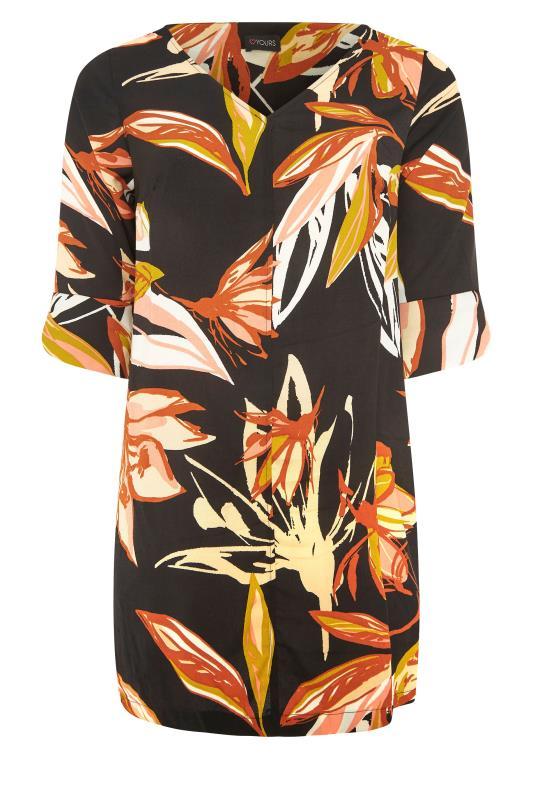 Black Leaf Print V-Neck Shift Dress_F.jpg