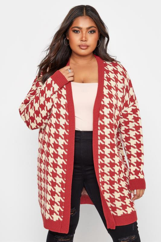 Plus Size  Red Dogtooth Cardigan