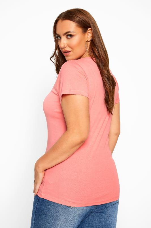 Coral Pink V-Neck Plain T-Shirt