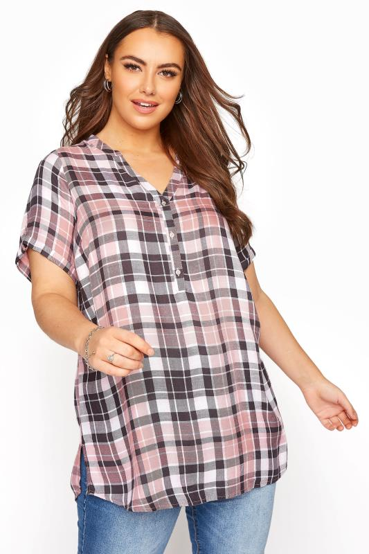 Plus Size  Pink Check Shirt
