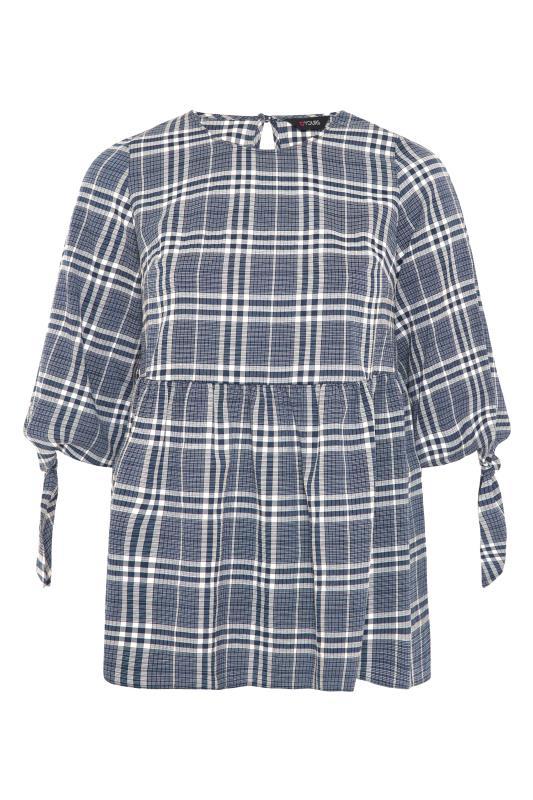 THE LIMITED EDIT Blue Check Tie Sleeve Peplum Blouse_F.jpg