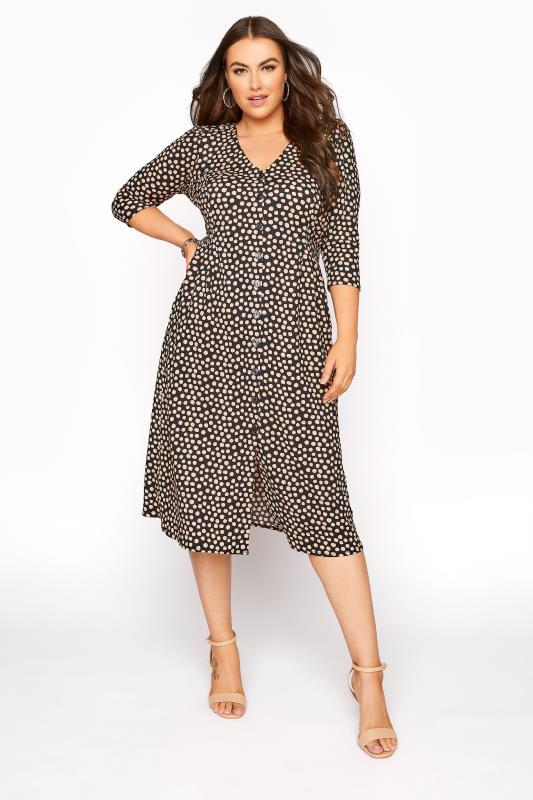 Plus Size  YOURS LONDON Black Spot Button Dress