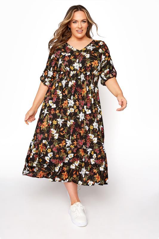 Plus Size  Black Floral Turn Back Sleeve Midi Dress