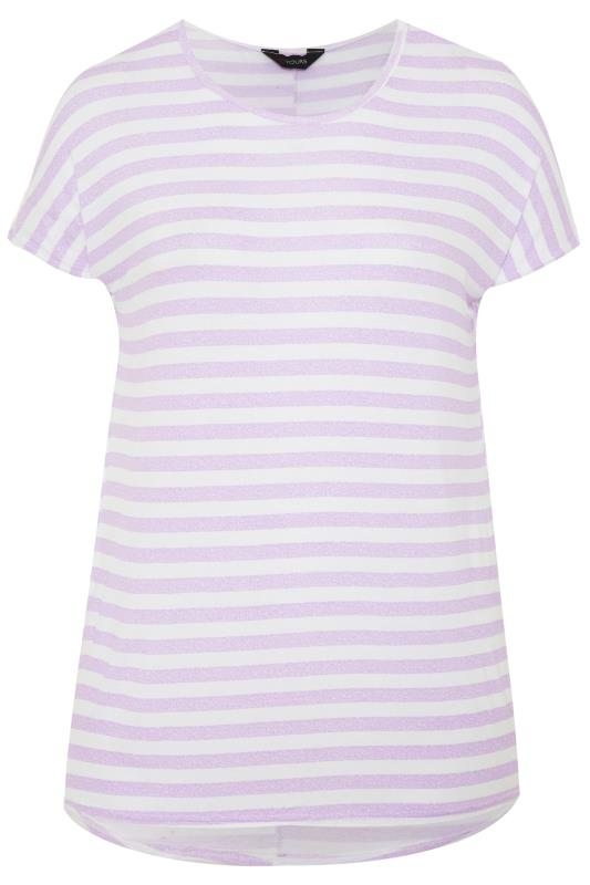 Casual / Every Day Tallas Grandes Lilac & White Striped Jersey Top