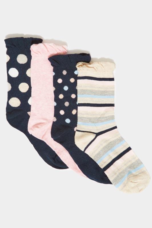 4 PACK Navy Assorted Spot & Stripe Socks