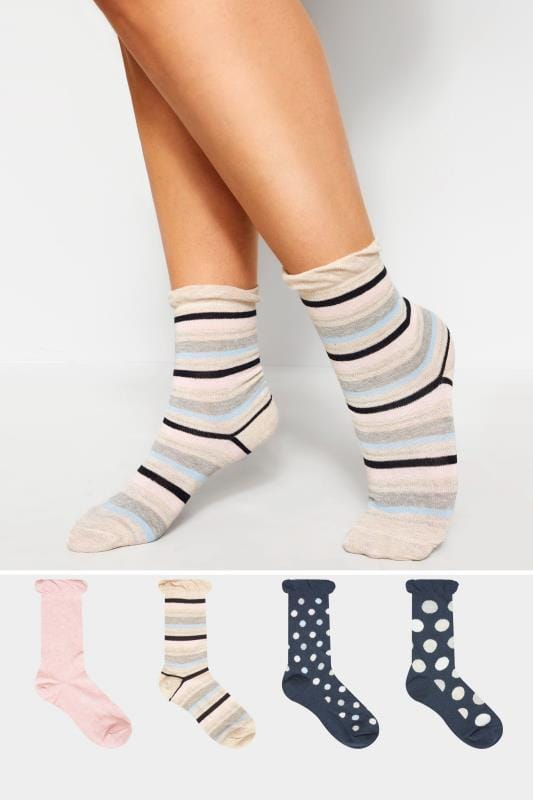 4 PACK Navy Assorted Spot & Stripe Socks