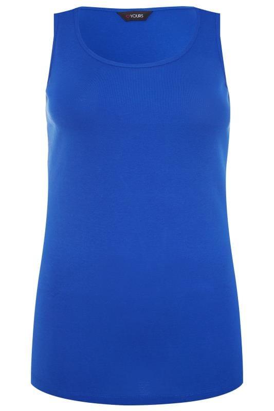 Tops y camisetas sin mangas Tallas Grandes Camiseta algodón sin mangas azul cobalto
