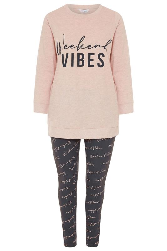 Pink & Grey 'Weekend Vibes' Slogan Lounge Set