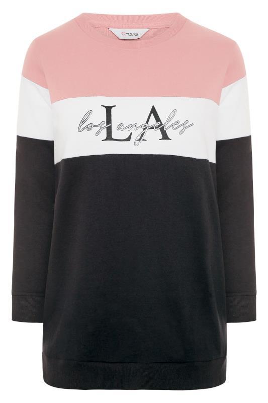 Pink & Black 'LA' Slogan Colourblock Sweatshirt_F.jpg