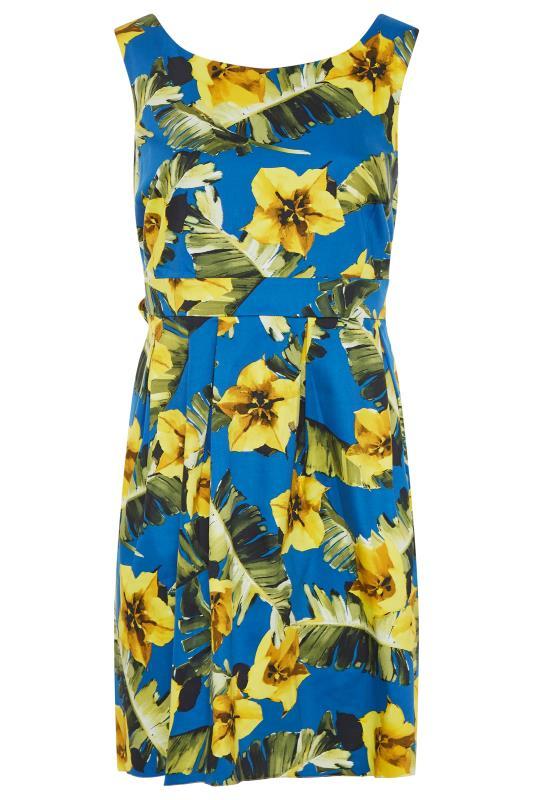 Royal Blue Floral Print Skater Dress_F.jpg