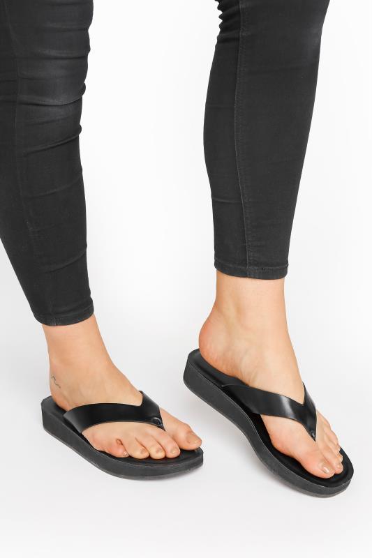 Tall  LTS Black Toe Thong Sandal