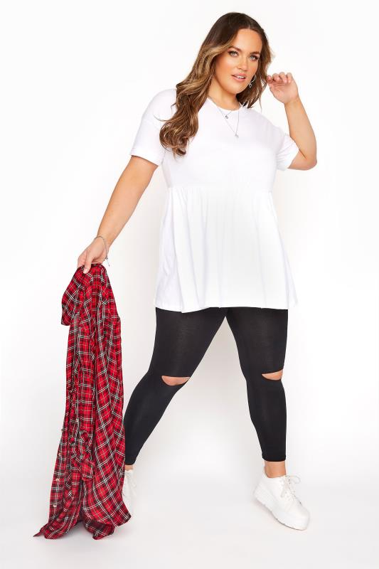 Plus Size Fashion Leggings Black Ripped Knee Leggings