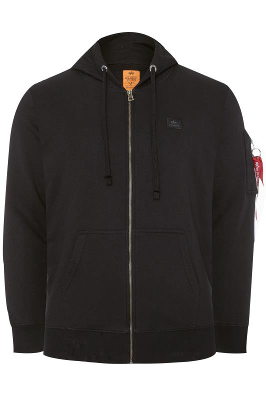 Plus Size Hoodies ALPHA INDUSTRIES Black X-FIT Zip Through Hoodie
