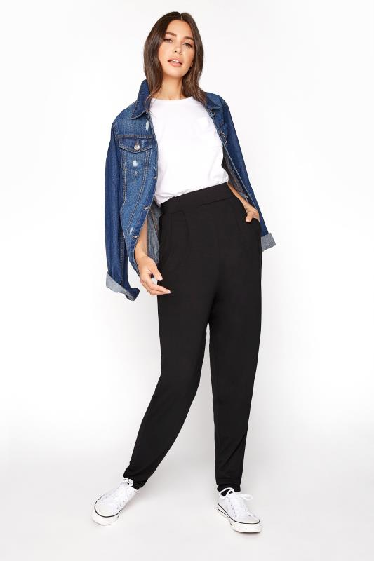 Tall  LTS Black Double Pleat Jersey Harem Trousers