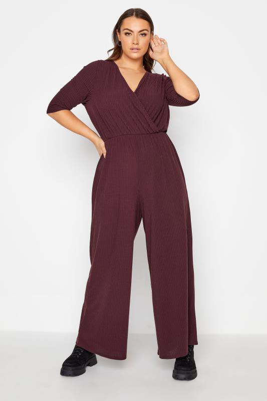 Plus Size  LIMITED COLLECTION Berry Red Ribbed Wrap Jumpsuit