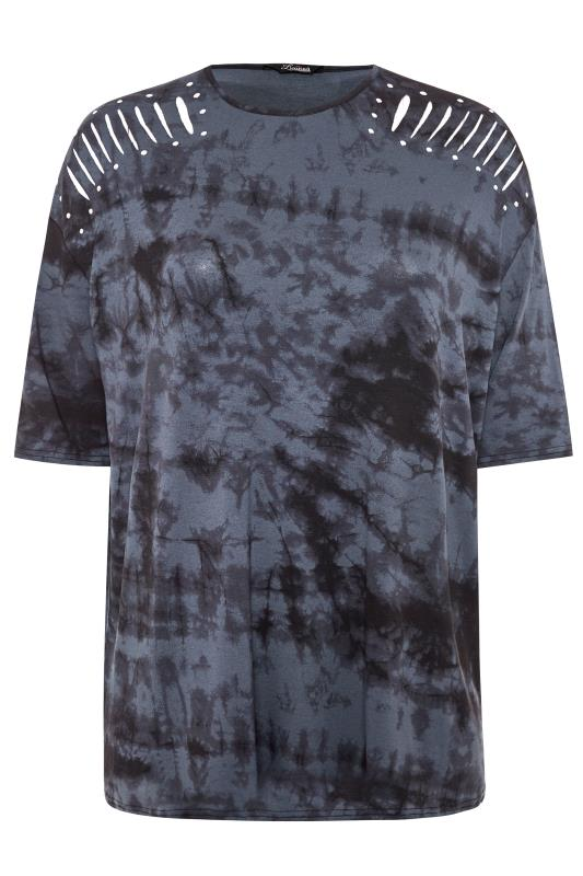 LIMITED COLLECTION Grey Tie Dye Stud Laser Cut Top