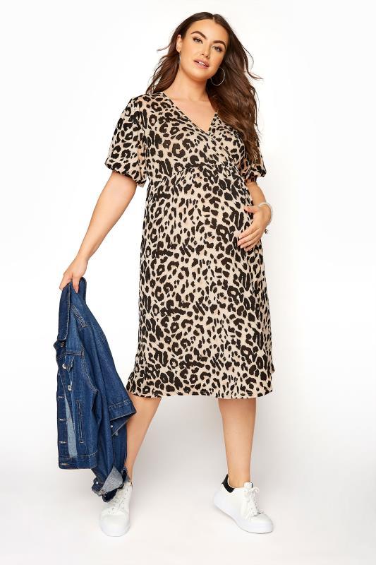 BUMP IT UP MATERNITY Natural Animal Print Wrap Dress_A.jpg
