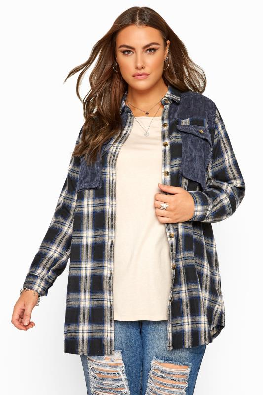Plus Size Shirts Navy Cord Check Shirt