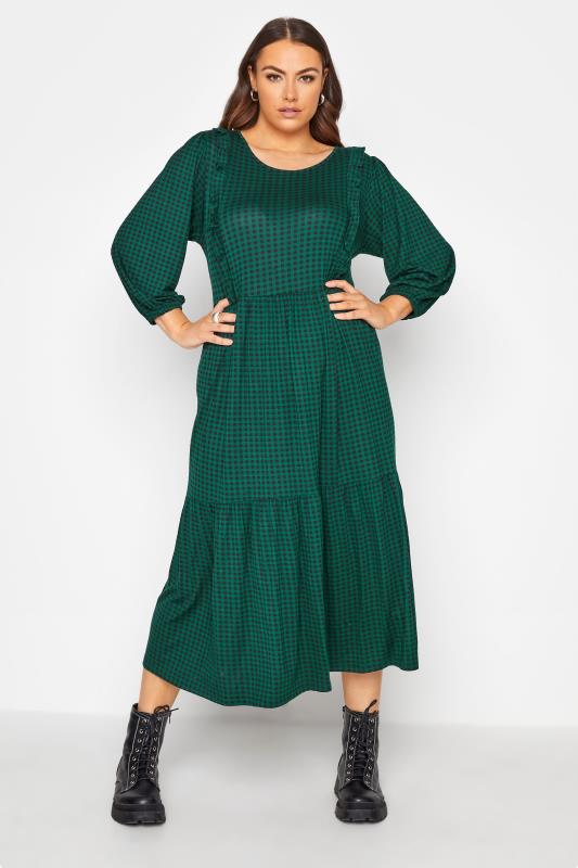 Plus Size  Forest Green Check Tiered Midaxi Dress