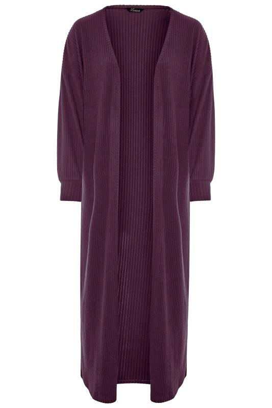 LIMITED COLLECTION Plum Ribbed Long Cardigan_F.jpg