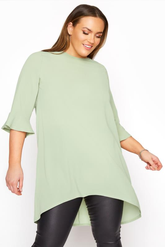 YOURS LONDON Sage Green Flute Sleeve Tunic