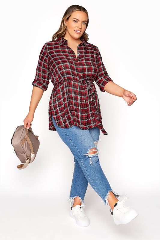 LIMITED COLLECTION Red Check Belted Shirt_B.jpg