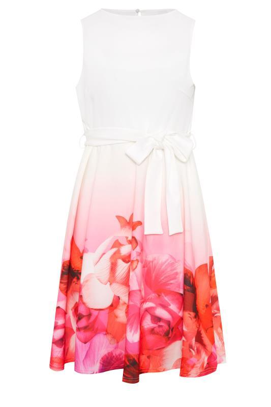 YOURS LONDON Pink Border Floral Skater Dress_F.jpg