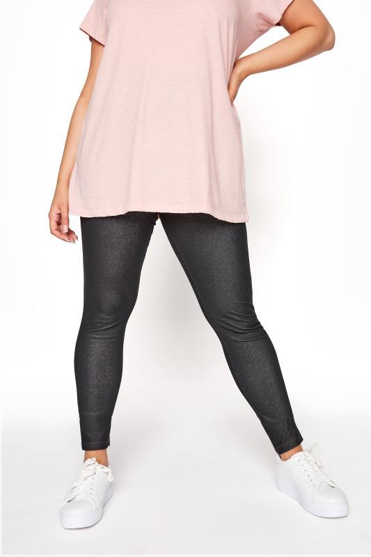 Plus Size Basic Leggings Black Jersey Jeggings