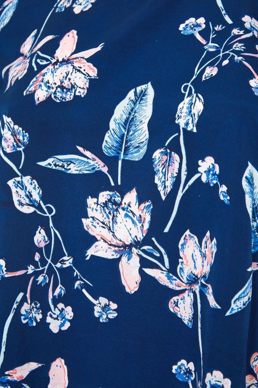 Blue Floral Print Dipped Hem Blouse_S.jpg