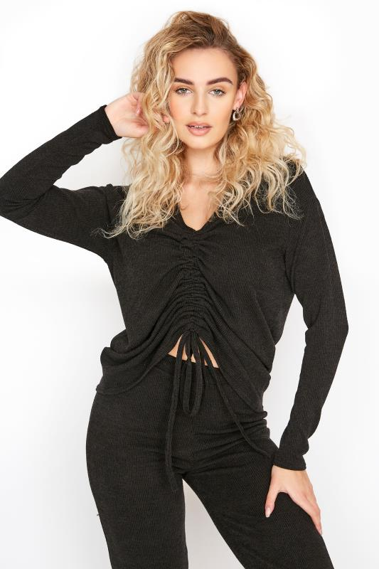 LTS Black Ribbed Ruched Co-ord Top_A.jpg
