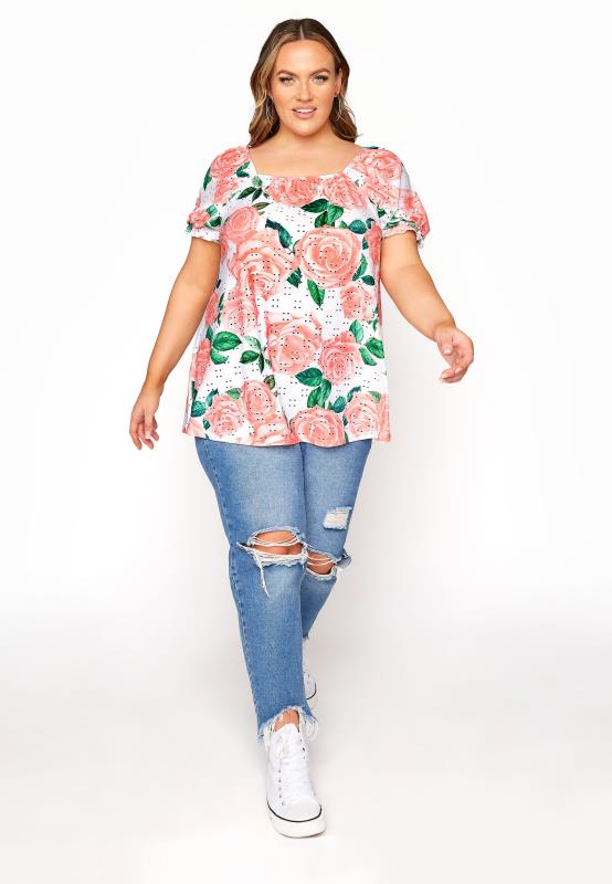 LIMITED COLLECTION Coral Pink Rose Print Broderie Anglaise Top
