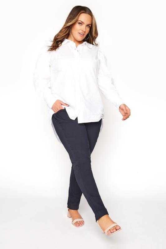 Plus Size  Navy Bengaline Stretch Trousers