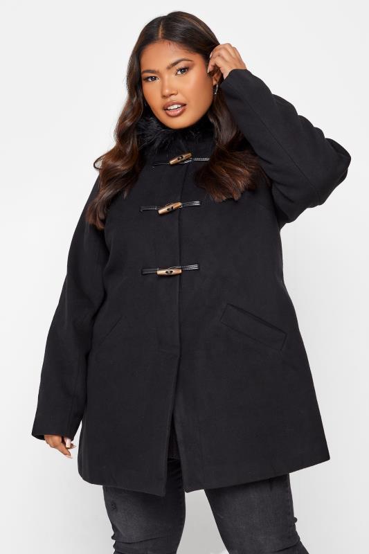 Black Faux Fur Trim Duffle Coat_A.jpg
