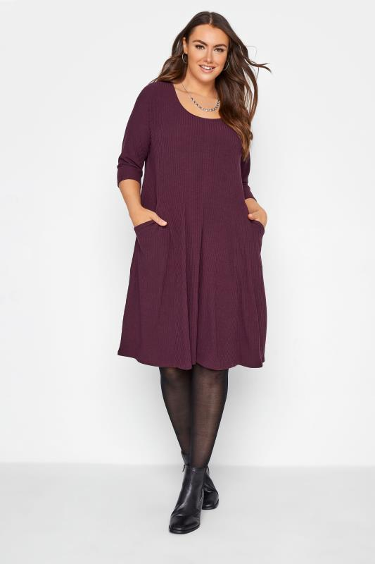 Tallas Grandes Berry Purple Ribbed Drape Pocket Midi Dress