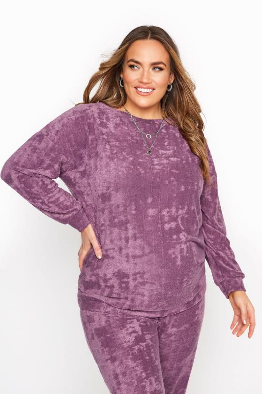 Plus Size  BUMP IT UP MATERNITY Purple Flannel Towelling Co-ord Lounge Sweatshirt