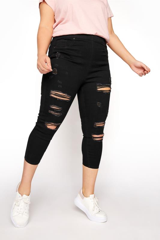 Black Extreme Ripped Cropped JENNY Jeggings