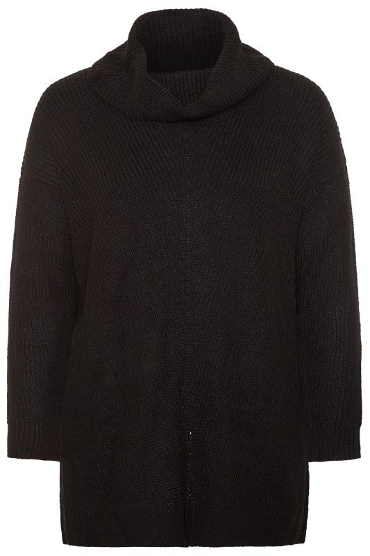 Black Turtle Neck Longline Knitted Jumper
