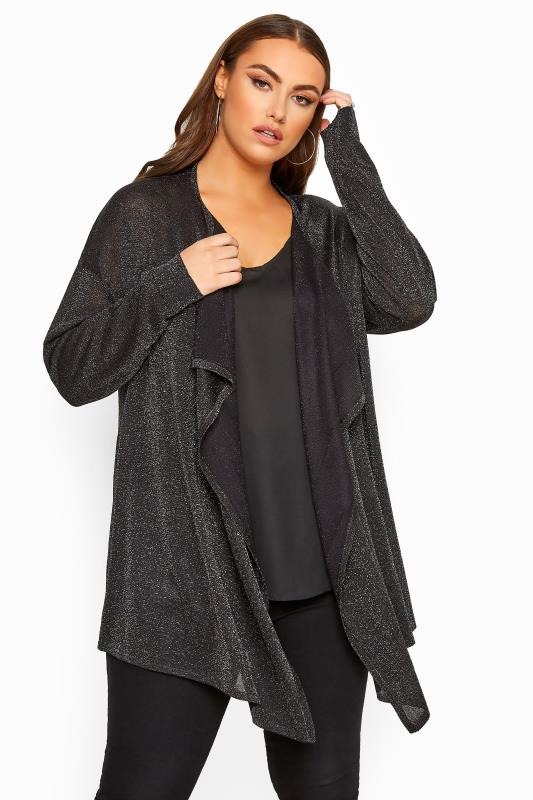 Cardigans Black & Silver Metallic Waterfall Cardigan