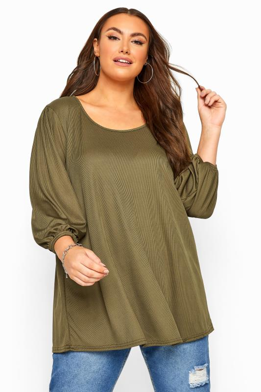 Plus Size Beauty Khaki Ribbed Balloon Sleeve Swing Top