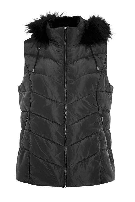 Black Faux Fur Hood Padded Gilet_F.jpg