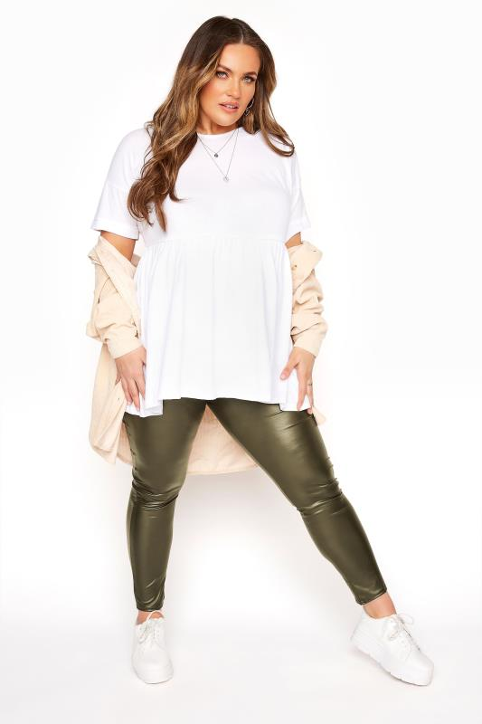 Khaki Coated Look Leggings