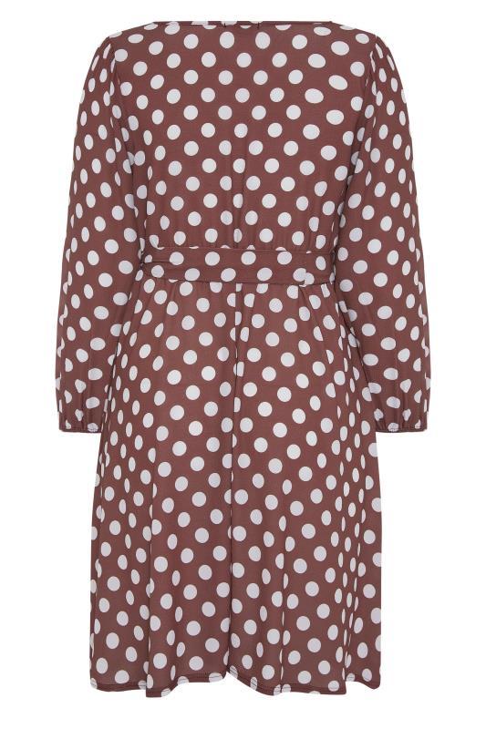 YOURS LONDON Brown Polka Dot Wrap Midi Dress_BK.jpg