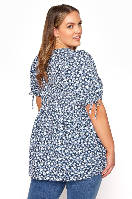 LIMITED COLLECTION Blue Floral Wrap Front Smock Top_C.jpg