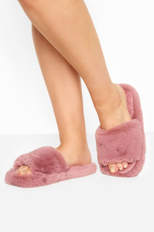 Großen Größen  Dusky Pink Vegan Faux Fur Slippers In Regular Fit